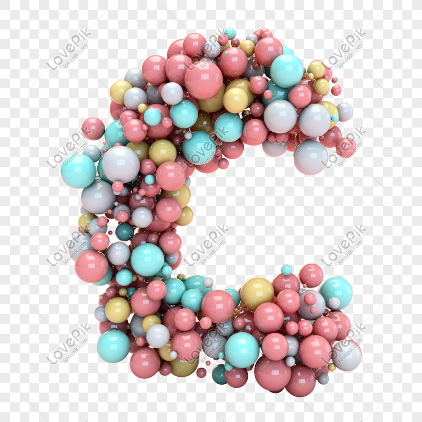 coloured balloons form the letter c png