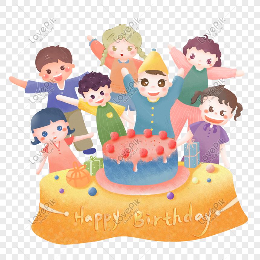 Bahan Png Kue Ulang Tahun Kartun Yang Dilukis Dengan Tangan