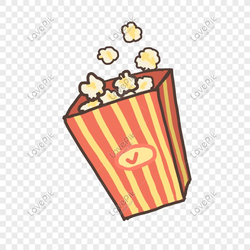 Popcorn Makanan Gourmet Snek Kartun Comel Gambar Unduh Gratis Imej