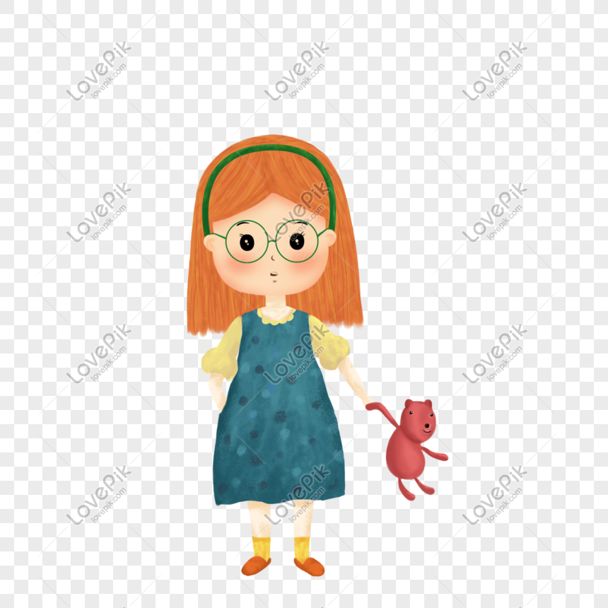 girl holding a bear png