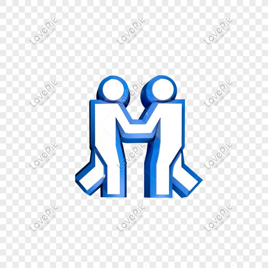 Ikon Berjabat Tangan Tiga Dimensi Biru Gambar Unduh Gratis Imej
