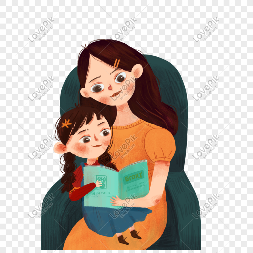 mother teaching children to read books png
