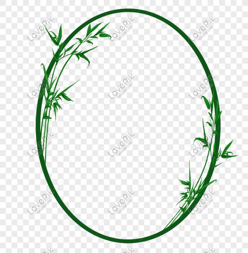 elliptical bamboo leaf border png
