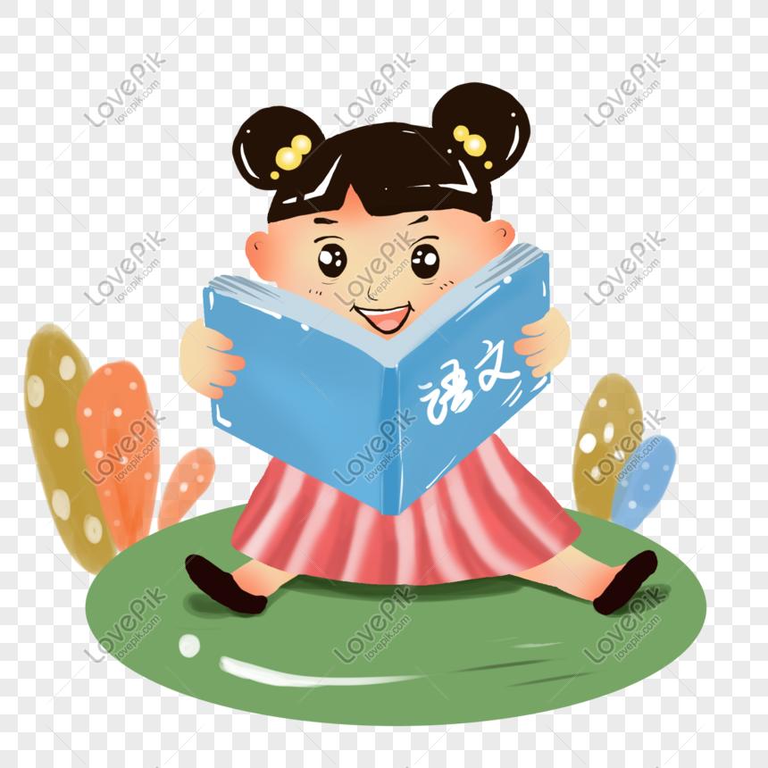 Menina Dos Desenhos Animados Lendo A Ilustracao De Livro Imagem