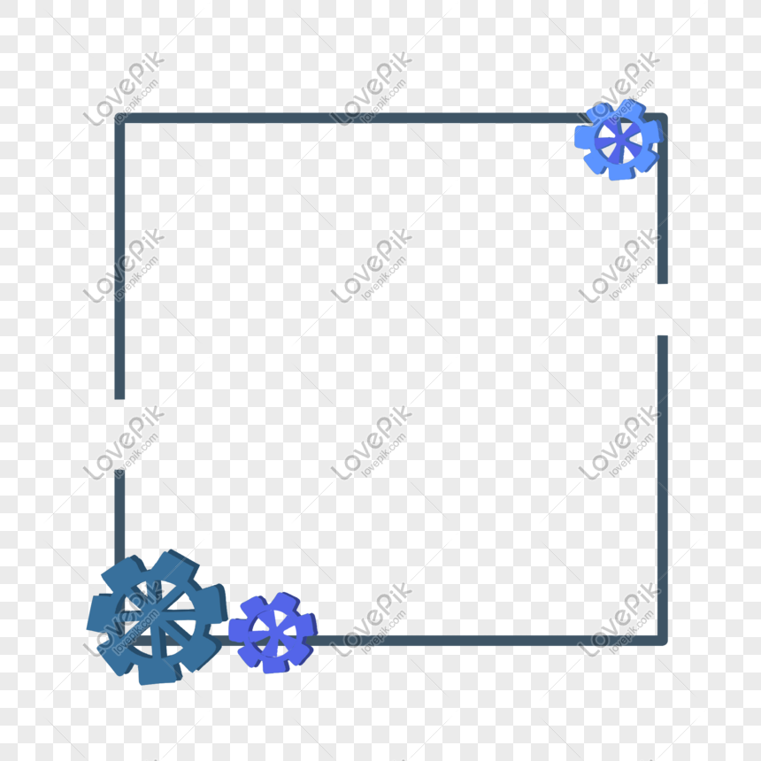 Labor Day Gear Simple Square Blue Border Png Image Picture Free