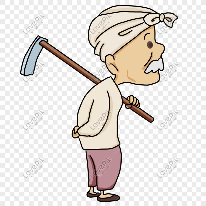 Velho Fazendeiro Carregando Uma Enxada Imagem Gratis Graficos