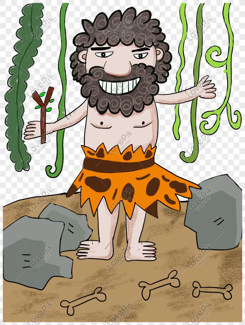 Kartun Manusia Primitif PNG Grafik Gambar Unduh Gratis Lovepik