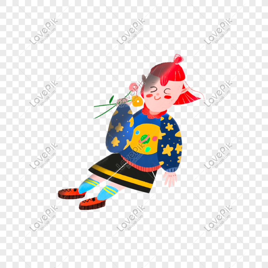 sitting girl holding flowers png