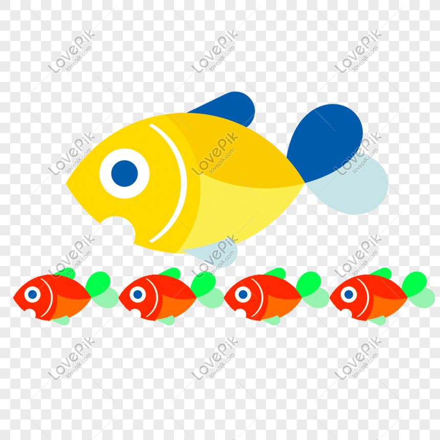 Cartoon Hand Drawn Cute Big Fish And Small Fish Png Image Picture Free Download 401179141 Lovepik Com