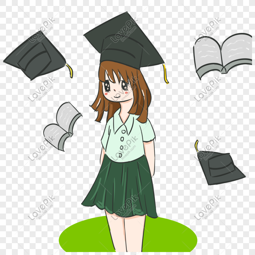 girl wearing graduation gown png