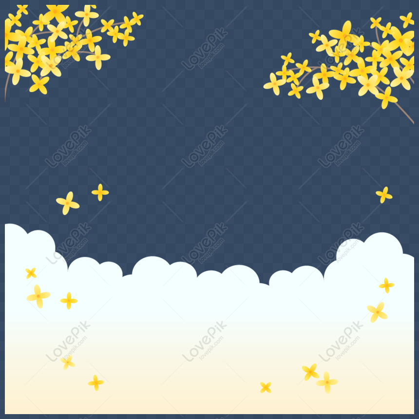Vector Small Yellow Flower Floating Background Png