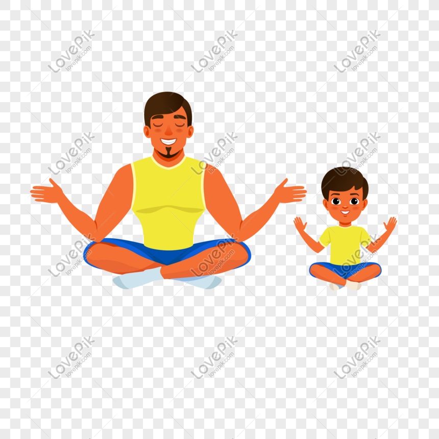 Father's day dad and kids doing yoga elements png