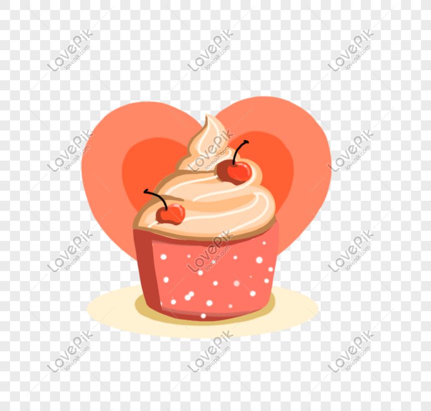 Lovepik صورة Psd 401194367 Id الرسومات بحث صور كارتون مرسومة باليد حب القلب لذيذ كب كيك