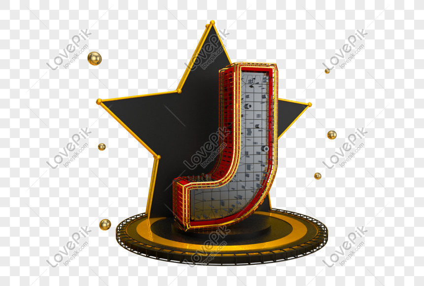 black gold stereo english letter j png