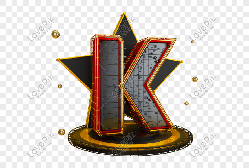 black gold three dimensional english letter k png