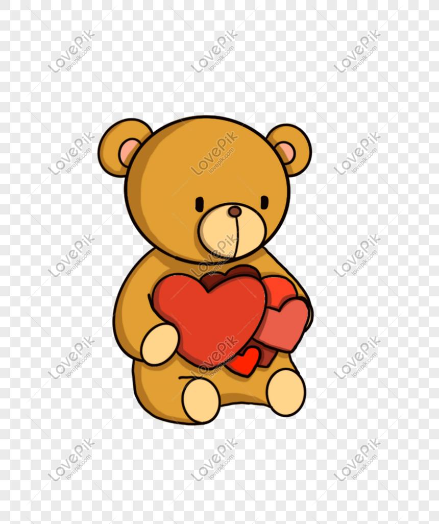 Kartun Boneka Beruang Cinta Yang Digambar Tangan PNG Grafik