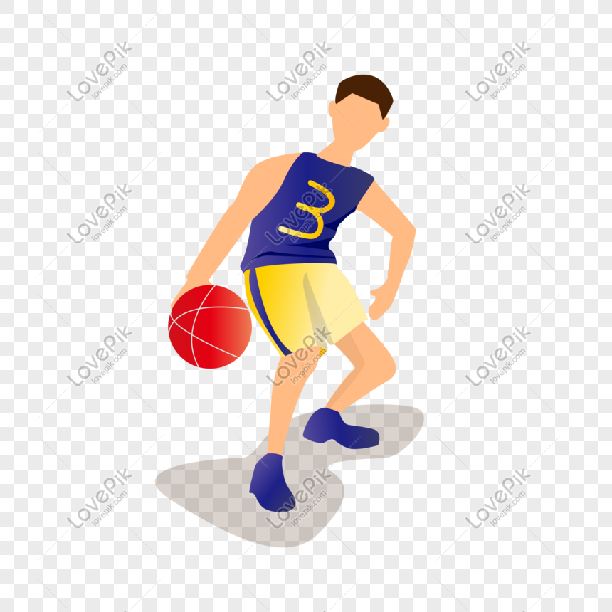Flat young man playing basketball vector character png