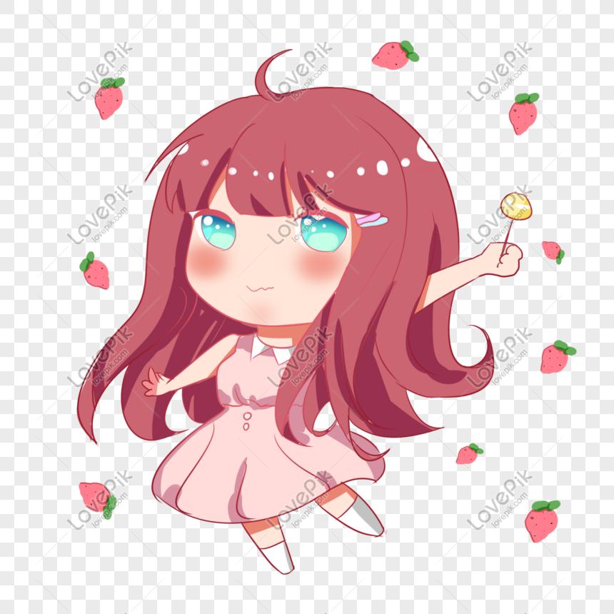 Versi Q Lucu Dari Anime Karakter Gadis Strawberry Lucu Png Grafik