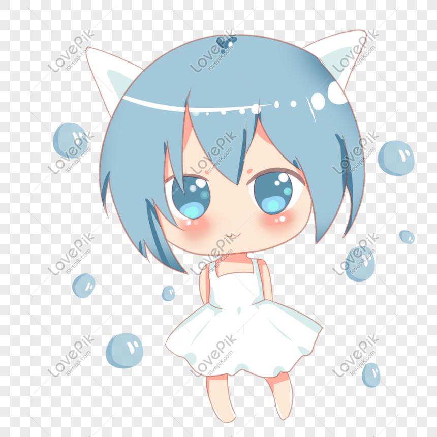 Versi Q Lucu Telinga Kucing Lucu Gelembung Gadis Karakter Anime