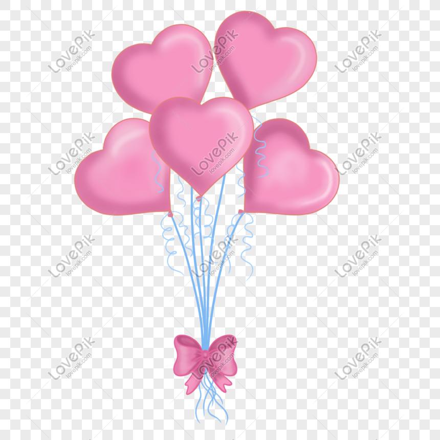520粉色愛心氣球 png