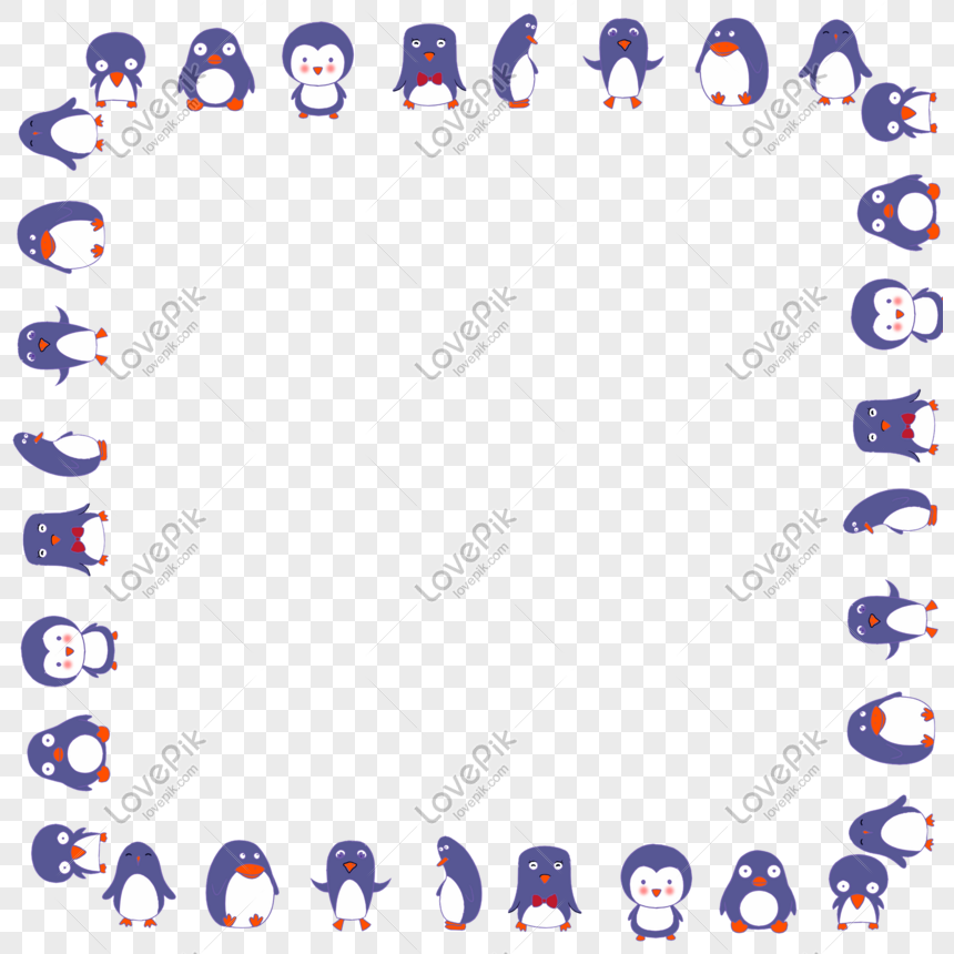Penguin, Red, Valentine's Day Png And Psd - Valentines Day Cartoon Penguins  - Free Transparent PNG Clipart Images Download