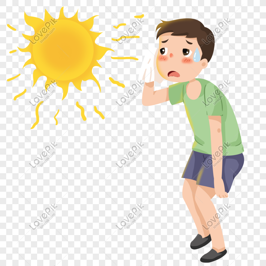 Boy is Hot and Sweaty in the Sun clipart. Free download transparent .PNG |  Creazilla