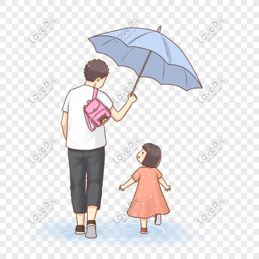 Ayah Dan Anak Perempuan Dalam Hujan Png Grafik Gambar Unduh Gratis Lovepik