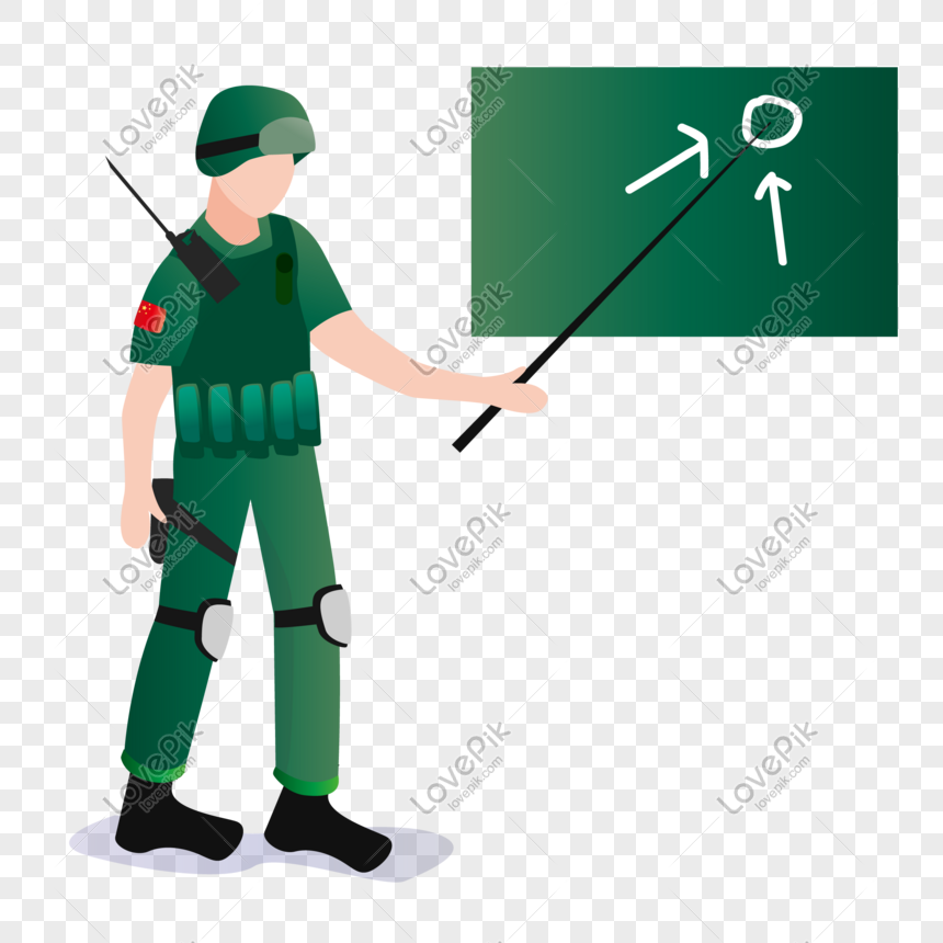 Flat army commander vector character png image_picture free