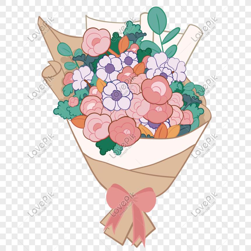 Karangan Bunga Kartun Lucu Hadiah Liburan Png Grafik Gambar Unduh Gratis Lovepik