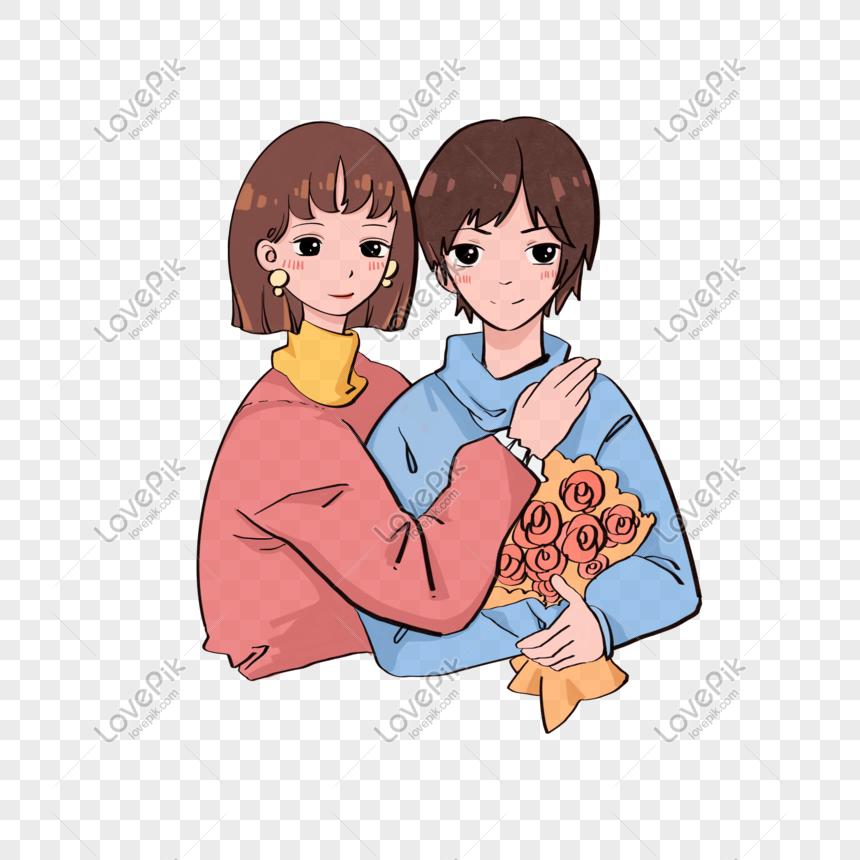 Photo De Couple De Dessin Animé Personnage Mignon Bouquet De