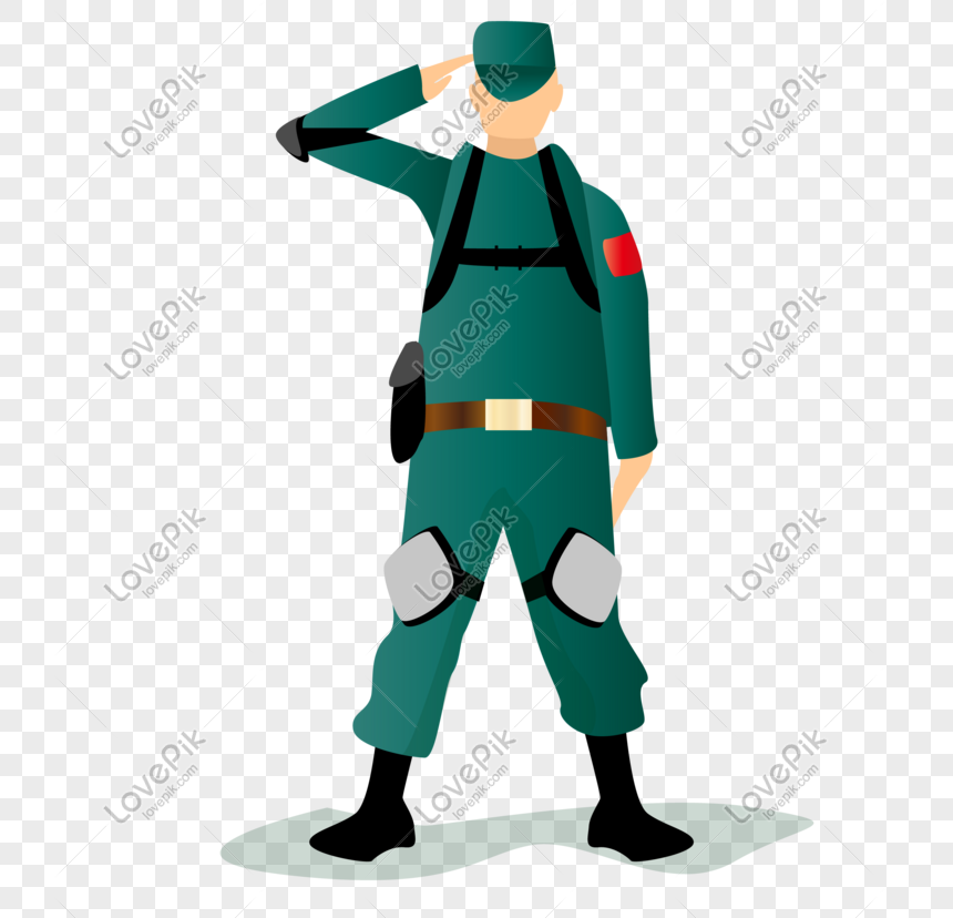 Flat military salute vector character png image_picture free