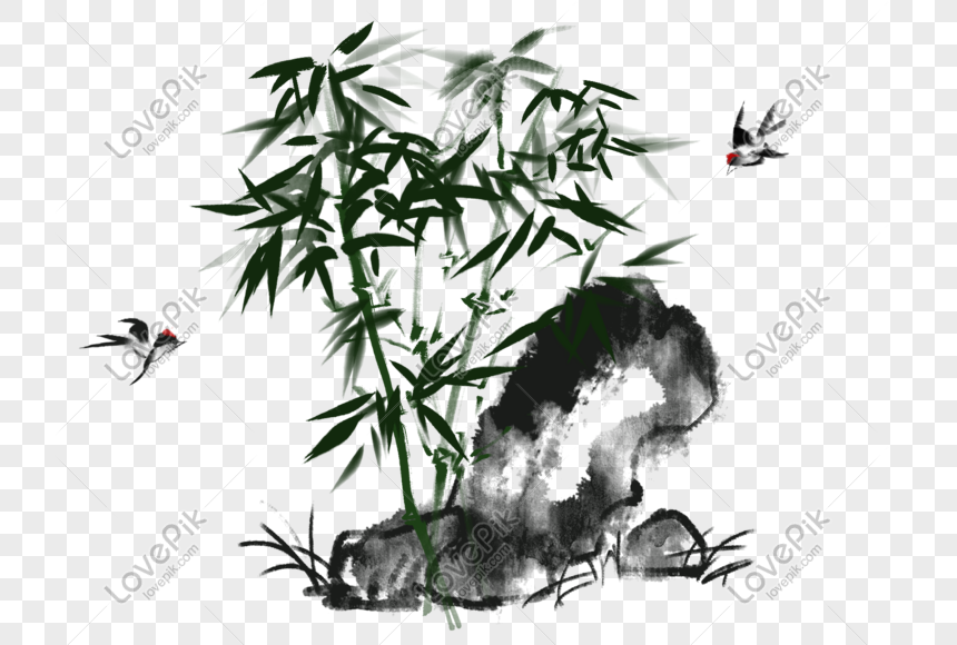 chinese style chinese painting ink bamboo png