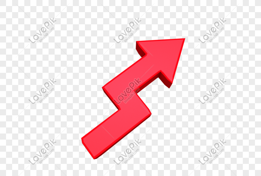 red rising arrow png