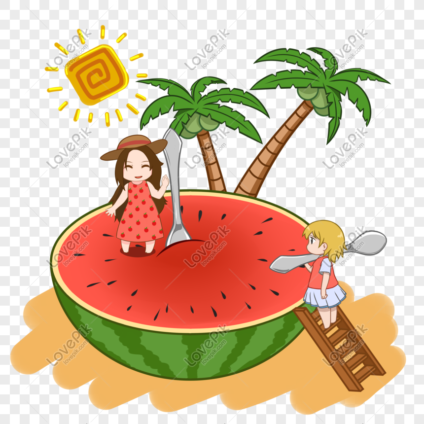 creative girl eating watermelon png