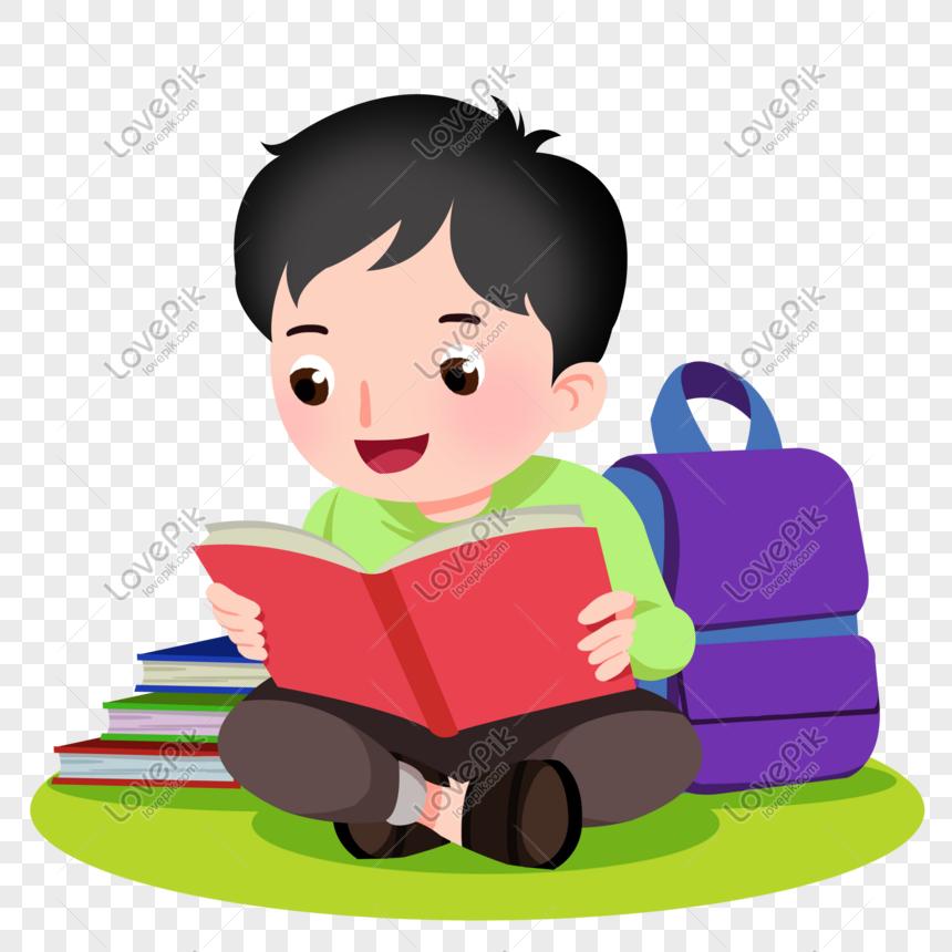 niño decorativo de dibujos animados feliz leyendo un libro