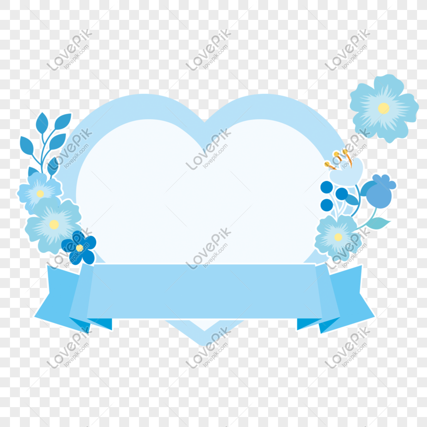 Blue Flower Love Border Png Image Picture Free Download