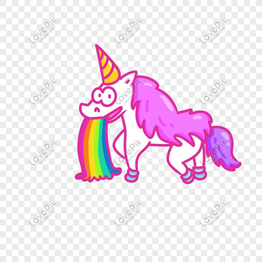 Kartun Pink Pony Meludahi Pelangi Png Grafik Gambar Unduh Gratis Lovepik