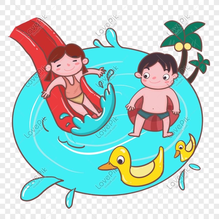 Lovepik صورة Psd 401275527 Id الرسومات بحث صور طفل يسبح على شريحة