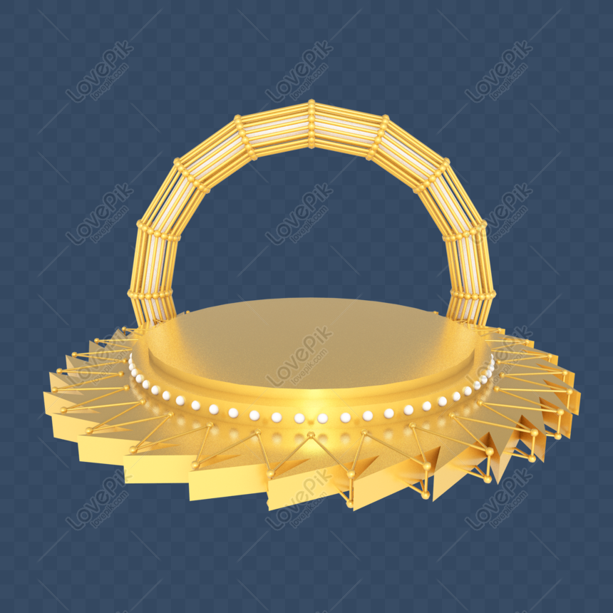 c4d stereo e commerce golden stage booth png
