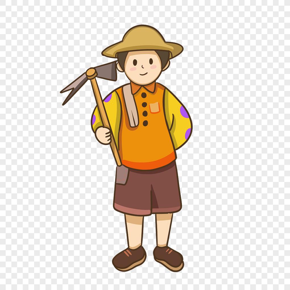 Kartun Paman Petani Yang Digambar Tangan Bekerja Keras PNG ...