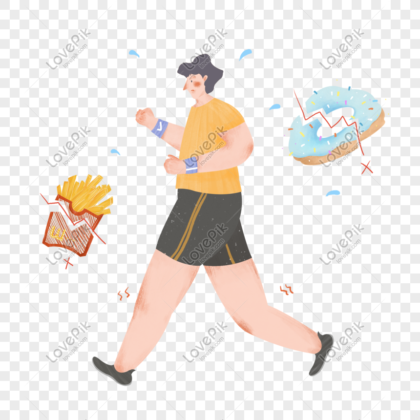 Running Weight Loss Exercise Fitness Cartoon Character Hand Draw Png Image Picture Free Download 401282925 Lovepik Com