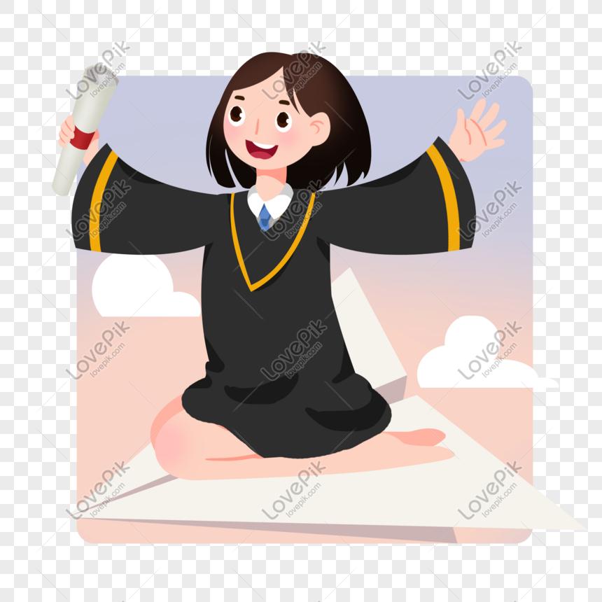 Dibujos Animados Chica Graduada Volando Ilustración Imagen