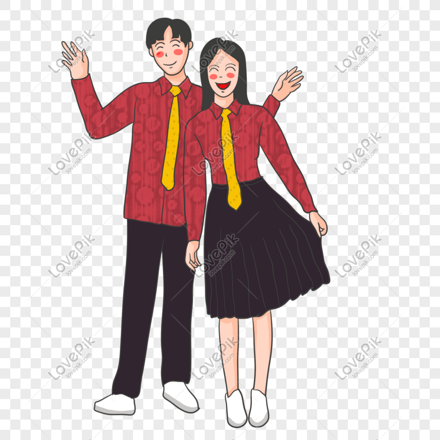 Cartoon Red Couple Out Boy Girl Png Image Picture Free Download 401291097 Lovepik Com