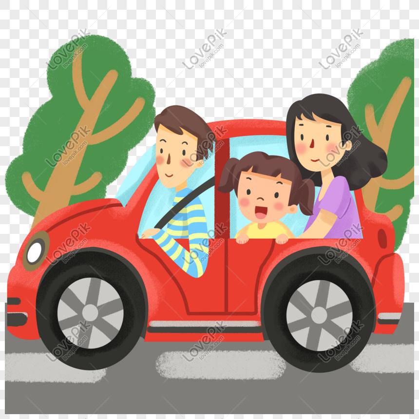 Familia Viajando En Coche En Vacaciones Imagen Descargar Prf
