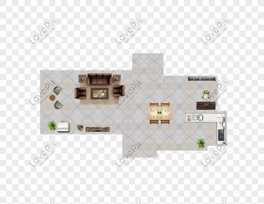 Living Room And Kitchen Top View Png