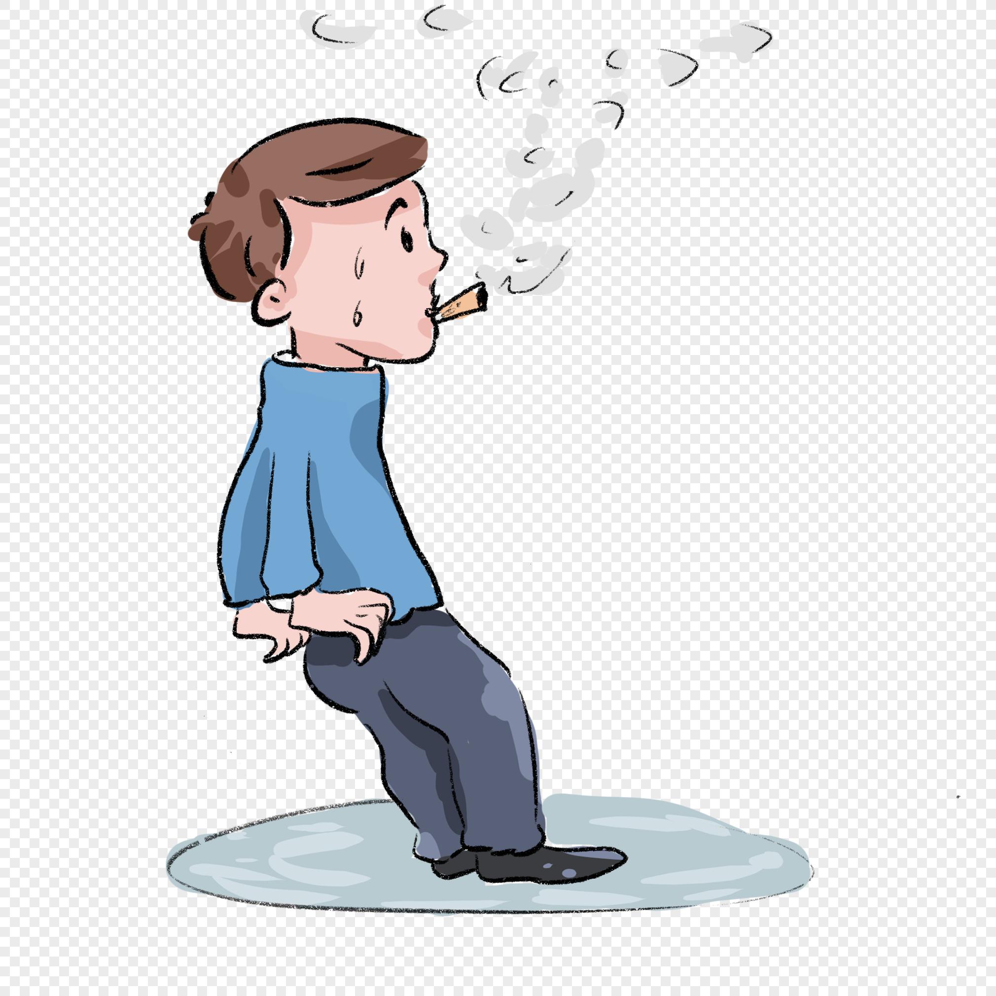 Мальчик курит рисунок