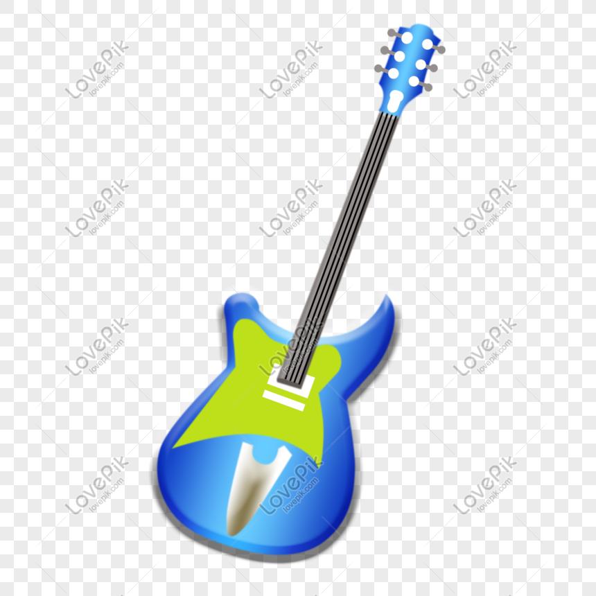 Dibujado A Mano De Dibujos Animados Guitarra Eléctrica Azul