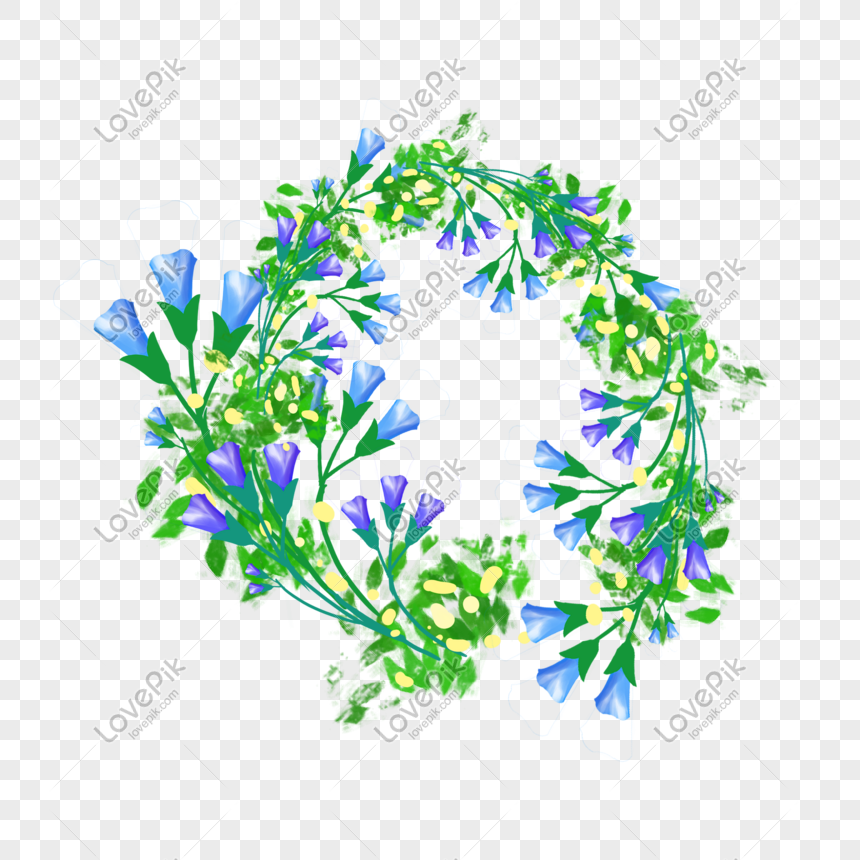 creative blue flower garland png