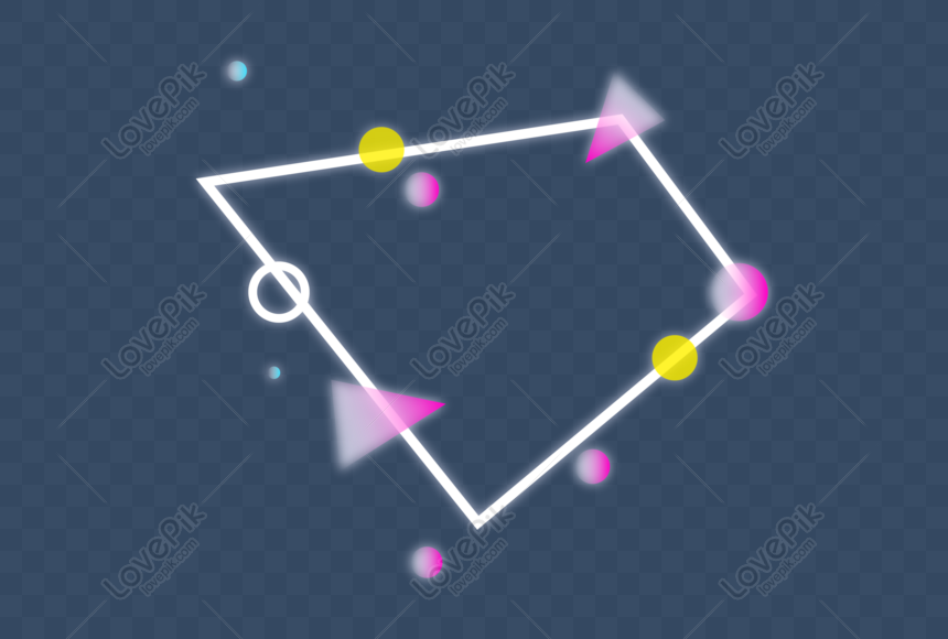 Glowing geometric gradient border png image_picture free download