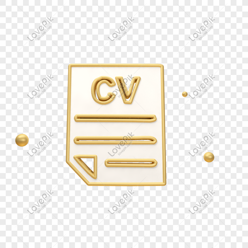 Three Dimensional Golden Recruitment Resume Icon Png Image Picture